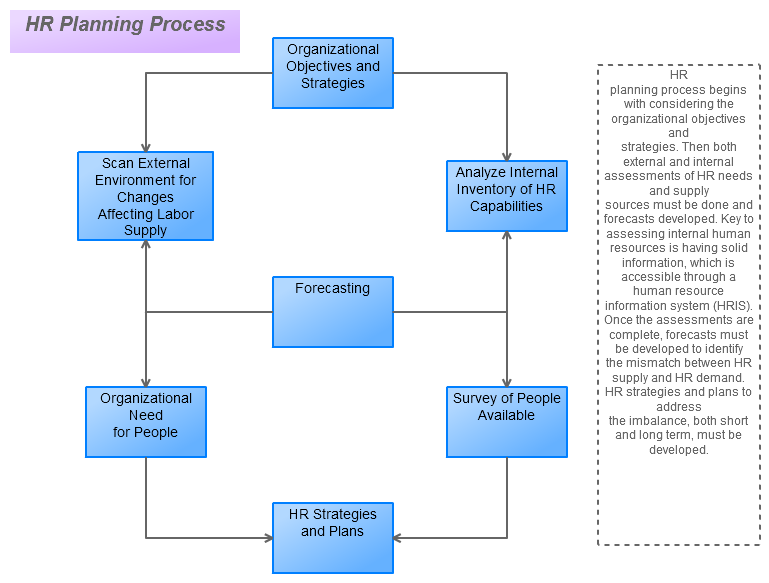 human resources hr planning process presentation It is characterised by a systematic process, undertaken through forecasting human resource needs under changing conditions so that strategic planning is implemented to attain the right human resources needed in the future in accordance with their long term goals and objectives of the organisation (de cieri et al, 2003).